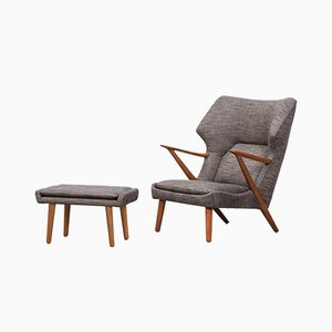 Gray Lounge Chair and Ottoman Set by Kurt Olsen for Slagelse Møbelværk, 1950s