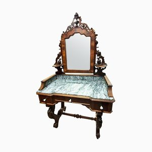 Louis Philippe Walnut and Marble Dressing Table