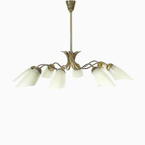 Italian Modern Decorative Brass & Glass Ceiling Lamp, 1950s