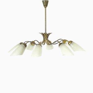 Lámpara de techo italiana moderna de vidrio y latón, años 50