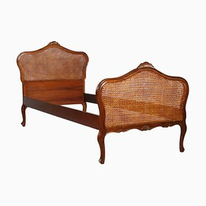 Hand-Carved Walnut & Vienna Straw Venetian Single Bed, 1920s