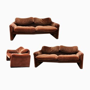 Italian Sofas & Armchair Set by Vico Magistretti for Cassina, 1980s, Set of 3