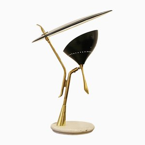 Italian Brass & Marble Lumen Milano Table Lamp, 1950s