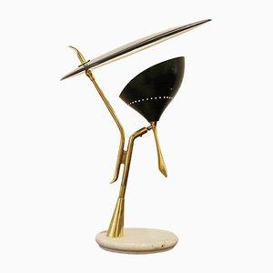 Lámpara de mesa italiana de latón y mármol Lumen Milano, años 50