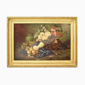 Pintura al óleo antigua en rosa y uva de E. Chauvet