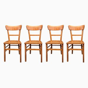 French Bistro Chairs from Baumann, 1950s, Set of 4