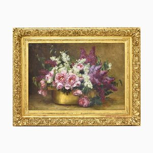 Antique Peonies & Lilac Flower Oil on Canvas by Magne Désiré Alfred