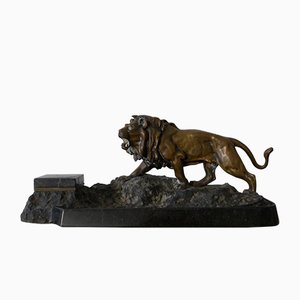 Antikes Art Deco Schreibtischset aus Granit mit Tintenfass und Löwe aus Bronze