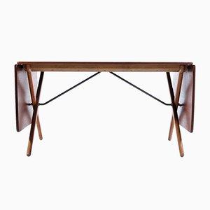 Mesa de comedor danesa de teca y roble de Hans J. Wegner para Andreas Tuck, años 50