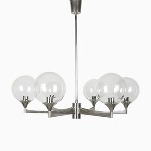 6-Arm Metal and Glass Ceiling Lamp, 1960s