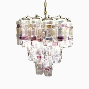 Lámpara de araña de cristal de Murano de Paolo Venini para Venini, años 60