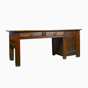 Antique French Oak and Elm Clerks Desk, 1850s