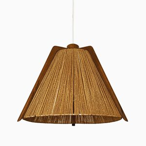 Raffia and Walnut Pendant Lamp, 1960s