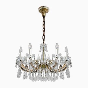 Vintage Glass and Crystal Chandelier, 1940s
