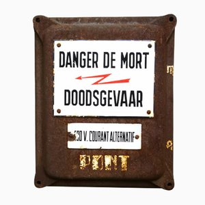 Belgian Enamel Danger Sign, 1930s
