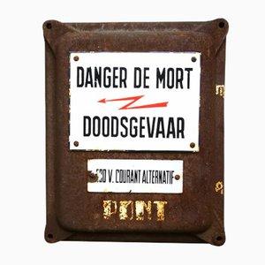 Señal de peligro belga esmaltada, años 30