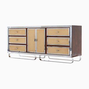 Vintage American Faux Cane and Chrome Sideboard