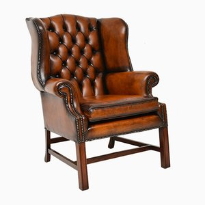 Leather Wingback Armchair, 1950s