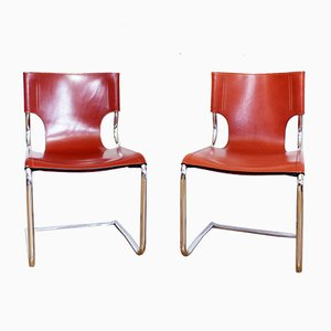 Antique Italian Leather and Metal Dining Chairs, Set of 2