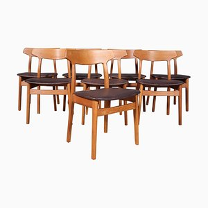 Oak Dining Chairs by Henning Kjærnulf, 1970s, Set of 8