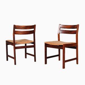 Sedie da pranzo in palissandro e pelle anilina color cognac di Kurt Østervig, anni '60, set di 4