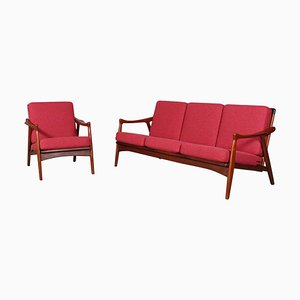 3-Seater Sofa and Lounge Chair Set, 1960s