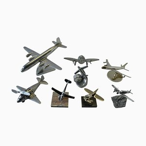 Mid-Century Aluminum and Chrome Aeroplane Models, 1960s, Set of 8