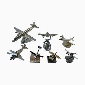 Modelli di aeroplani Mid-Century in alluminio e metallo cromato, anni '60, set di 8