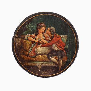 Baúl francés antiguo lacado, década de 1780