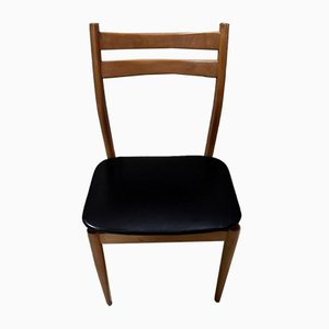 Vintage Beech and Black Skai Dining Chairs, Set of 6