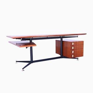 Mid-Century Wooden, Iron, and Brass Desk
