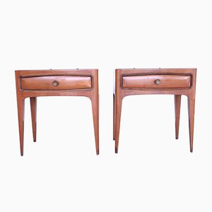 Vintage Rosewood and Glass Nightstands, Set of 2