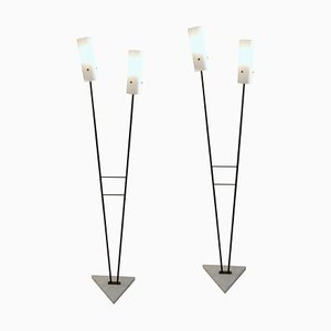 Italienische Stehlampen in Schwarz & Weiß von Stilnovo, 1960er, 2er Set