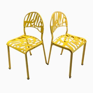 Yellow Hello There Armchairs by Jeremy Harvey for Artifort, 1970s, Set of 2