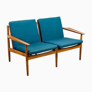 Sofá de dos plazas danés de teca de Arne Vodder para Glostrup, años 60