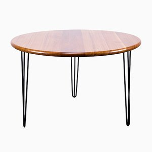Round Cherry Wood and Steel Dining Table, 1960s