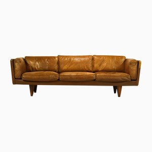 Rosewood and Buffalo Leather Model V11 Sofa by Illum Wikkelsø for Holger Christiansen, 1960s