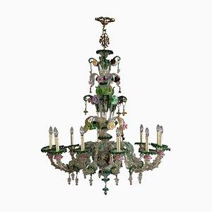 Vintage Italian Metal & Murano Glass Chandelier