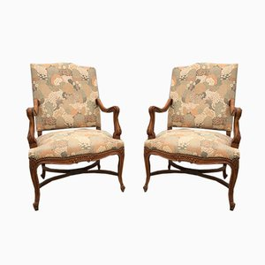 Mid-Century Louis XV Style Armchairs, Set of 2