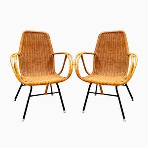 Juego de sillas de jardín vintage de ratán de Dirk van Sliedregt para Rohé Noordwolde, años 50. Juego de 4