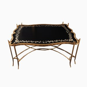 Large Vintage Art Nouveau Style Gilt Country House Coffee Table, 1980s