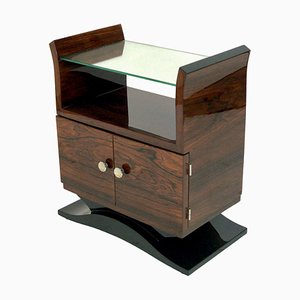 Small Art Deco French Rosewood Nightstand, 1930s