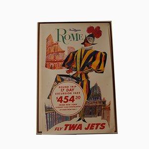 Fly TWA Airlines Rome Lithographie von David Klein, 1960er