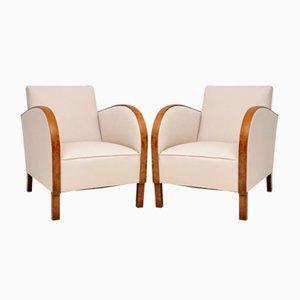 Schwedische Art Deco Birkenholz Armlehnstühle, 1930er, 2er Set