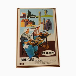 Belgian Bruge Travel and Art Advertising Lithograph by Herman Verbaere for Marci, 1960s