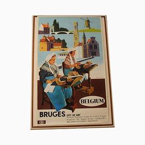 Lithographie Publicitaire Bruge Travel and Art par Herman Verbaere pour Marci, Belgique, 1960s