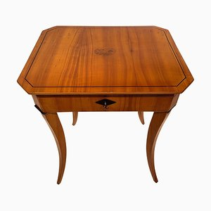 Antique Biedermeier German Cherrywood Veneer Sewing Table, 1820s