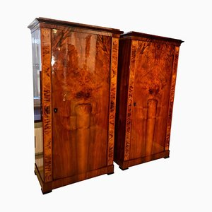 Antique Biedermeier Austrian Walnut Veneer Armoires, 1830s, Set of 2
