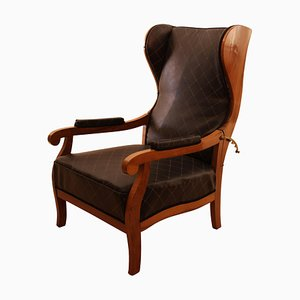 Antique Biedermeier German Adjustable Walnut Wing Chair, 1820s