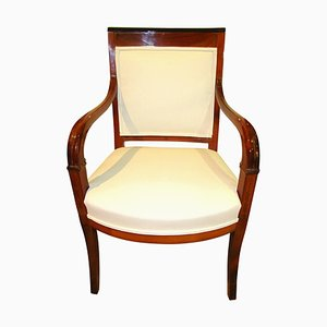 Antique Biedermeier French Carved Cherrywood Armchair, 1820s